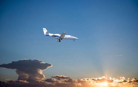 air travel: Private Jet PLane during landing. Stock Photo