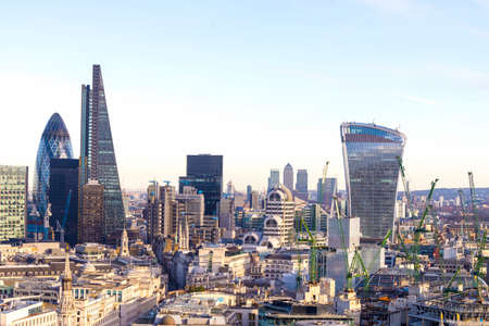 Aereal view of London modern district. Stock Photo