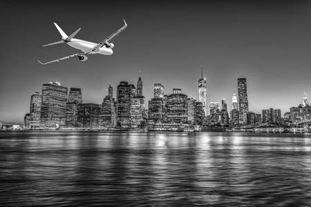 chorro: Aterrizando en la ciudad de Nueva York.
