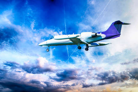 jet plane: Private jet plane in a beautiful sky.