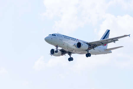 jetliner: ITALY - FLORENCE SEPTEMBER 02: Air France Airbus A318 lands at Peretola airport, 02 Septembre 2015, Italy. Peretola airport is the second airport in Tuscany. Editorial