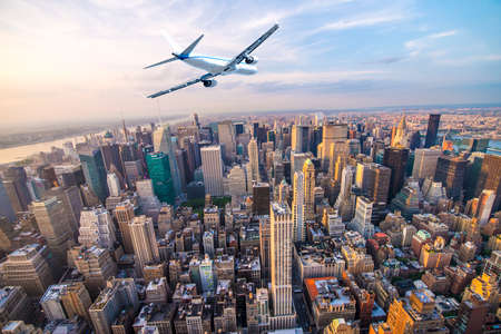 Plane over Manhattan, NYC.