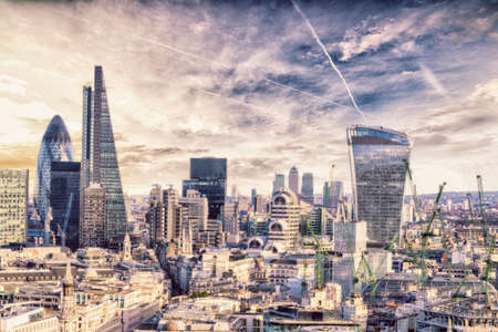 london street: London sunset, view on business modern district. Stock Photo