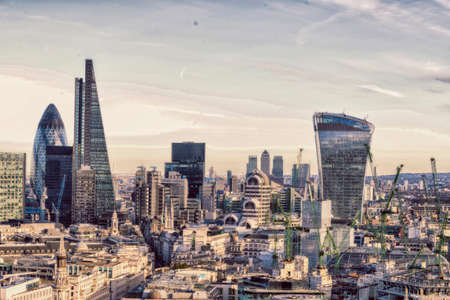 aereal: Aereal view of London modern district. Stock Photo