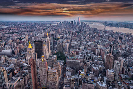 aereal: Aereal view of Manhattan at sunset. Stock Photo