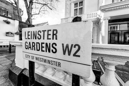 leinster: London street sign, Leinster Gardens W2.