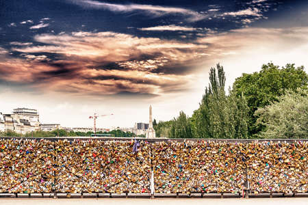 padlocks: Padlocks on bridge in Paris.