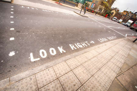 look right: Look Right sign in a London street.