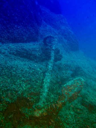 ship anchor: Ship anchor underwater.
