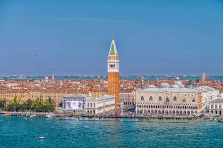 st mark: Venice landmark, aerial view of Piazza San Marco or st Mark square, Campanile and Ducale or Doge Palace. Italy, Europe.