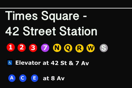 Times Square Entrance subway station sign - NYC.