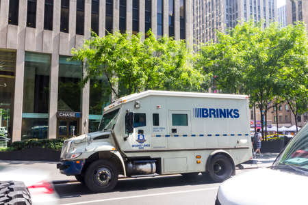 NEW YORK CITY - AGU 15, 2015: Brinks truck in center of Manhattan. The Brink's Company is an American security and protection company headquartered outside of Richmond, Virginia, United States.