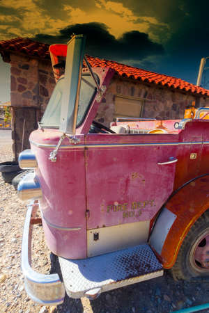 antique fire truck: Old fire truck in Death Valley. Stock Photo