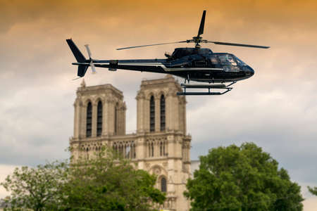 dame: Notre Dame Cathedral with special guest. Stock Photo