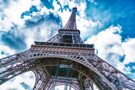 the view from below: Tower Eiffel view from below. Stock Photo
