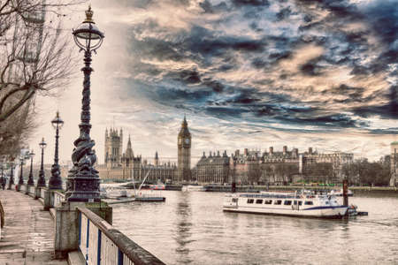 along: Along the banks of the Thames.