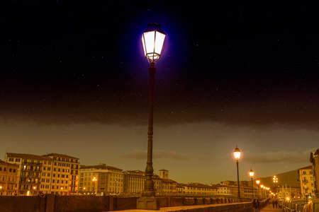 Night viewof Lungarno in PIsa.