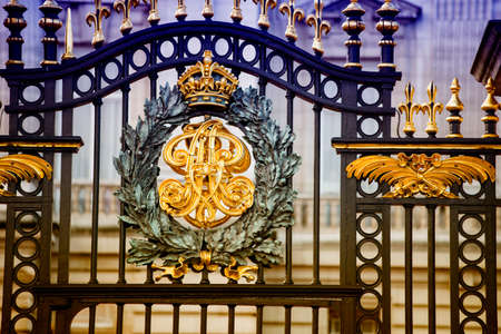 buckingham: Particular of Buckingham palace gate.