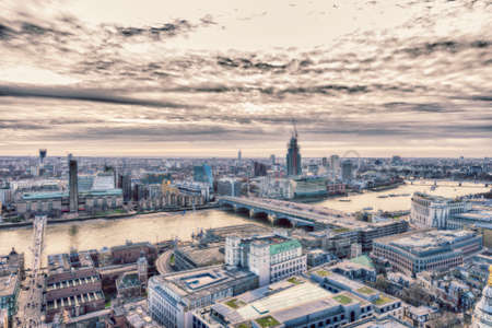 aereal: Aereal view on London at sunset. Stock Photo