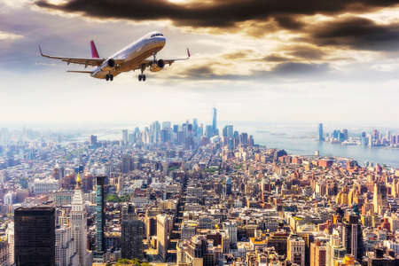 Airplane over Manhattan, NYC.