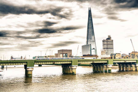 southwark: Southwark Bridge and new skyline in London.