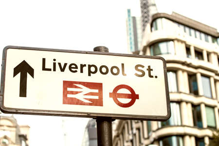 liverpool: Liverpool St. street sign. Stock Photo