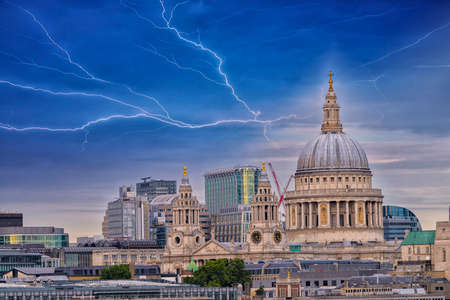 st pauls: St. Paul Cathedral with beautiful sky. Stock Photo