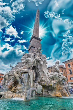 Fountain of the Four Rivers, Rome. Stock Photo