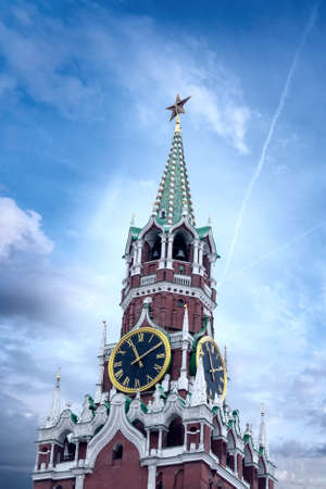 Clock tower on red square in Moscow.