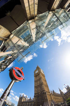 ONDON, ENGLAND SEPT 2016: Westminster underground station outside the government offices of the Houses of Parliament on September 25, 2016 in London, United Kingdom. Editorial