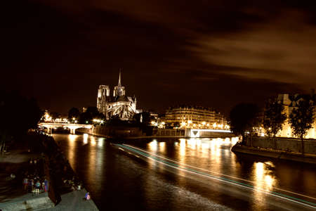 Notre Dame Cathedral by night, Paris. Stock Photo