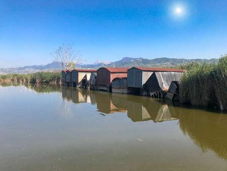 Old shacks on Massaciuccoli Lake, Tuscany.