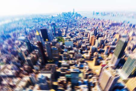 Blurry view of Manhattan.
