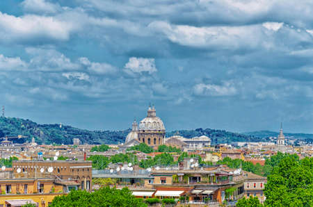 Panorama of Rome and St. Peter Basilica in Vatican.