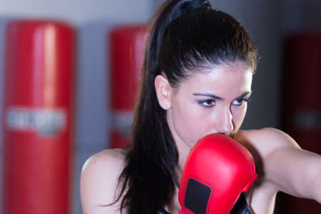 Beautiful woman boxer. Stockfoto
