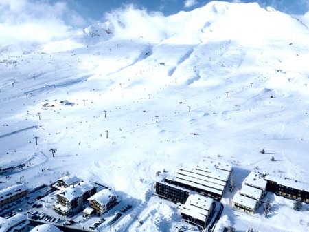 Ski slopes in Passo del Tonale in Italy, aerial view.