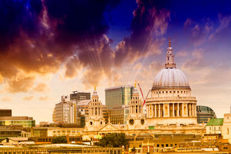 St. Paul Cathedral with beautiful sky. Stock Photo