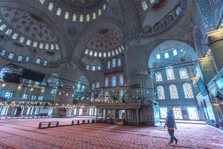 Interior of the Blue Mosque, Istambul. Editorial
