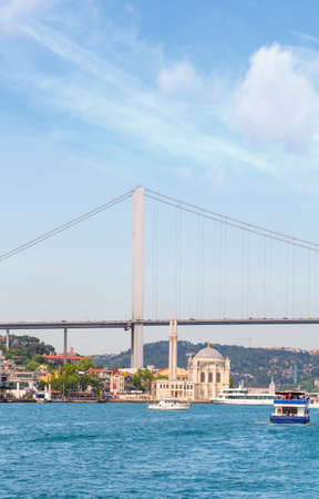 Ortakoy Mosque and Bosphorus Bridge in Istambul, Turkey.