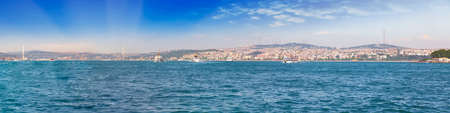 Panoramic view of Bosphorus Strait, Istambul, Turkey.