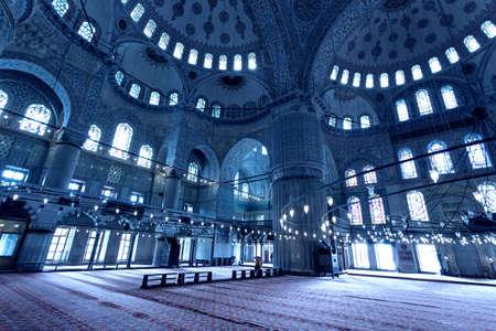 Interior of the Blue Mosque Sultan Ahmet Camii, Istanbul Turkey.