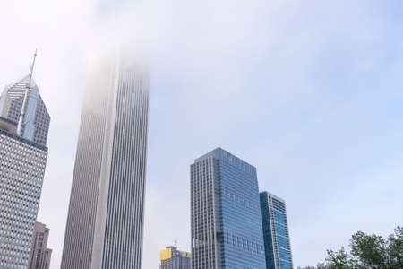Skyscrapers in the fog, Chicago. Stock Photo