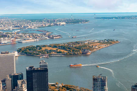Governors Island and Manhattan bay, aerial view.