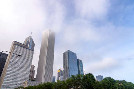 Skyscrapers in the fog, Chicago.