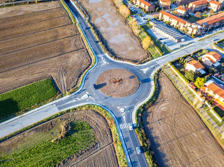 New roundabout, aerial view. Stock Photo