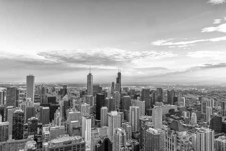 Vue aérienne de la ligne d'horizon de Chicago.