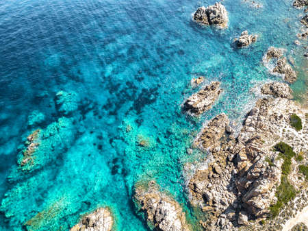 Sardinian coast and sea, aerial view.