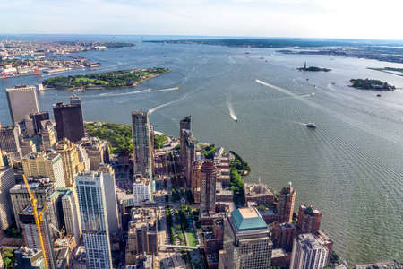 Aerial view of skyscrapers in lower Manhattan.