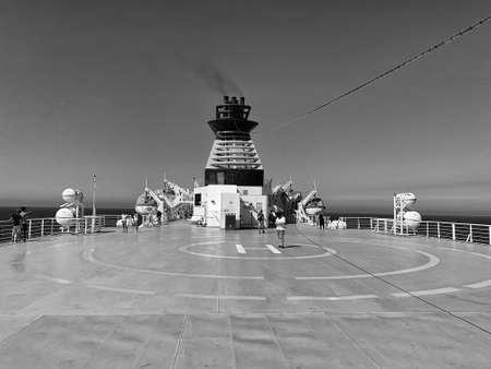 Helicopter landing ship bridge, security concept.