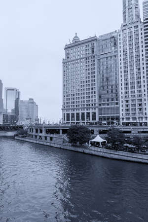 Skyscrapers along the banks of the Chicago River.